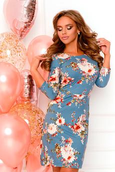 Синее платье с цветами Open-Style