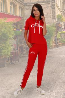 Красный костюм на лето в спортивном стиле Натали