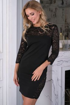 Черное платье с кружевом Look Russian