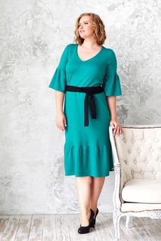 Зеленое платье миди Angela Ricci со скидкой