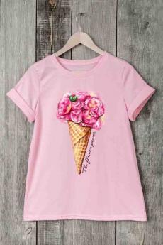 Розовая футболка с мороженым Милана со скидкой