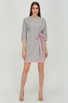 Серое платье с розовым бантом Viserdi