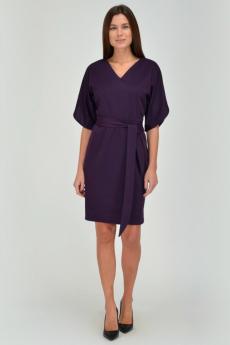 Баклажановое платье с поясом Viserdi
