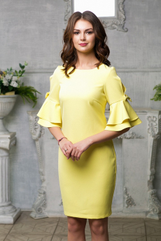 Новинка: желтое платье с декором на рукаве Look Russian